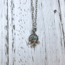 Becky Dockree Green and White Sapphire Silver Necklace