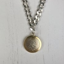Becky Dockree Large Coin on a Chunky Filed Curb Chain
