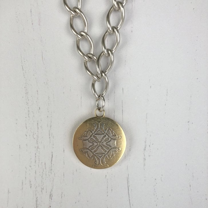 Becky Dockree Large Coin on Loose Curb Chain
