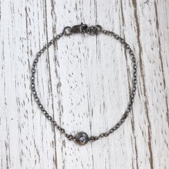 Becky Dockree Oxidised Silver and Iolite Chain Bracelet