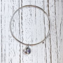 Becky Dockree Silver Bangle with Dome Charm