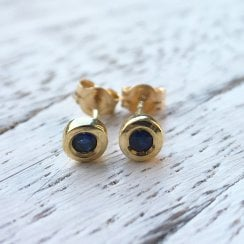 Bezel Set Sapphire Stud Earrings