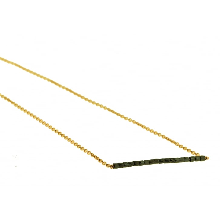 Lila's Black Diamond Beads on Bar Necklace in Rose Gold