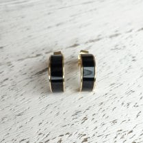 Black Enamel Half Hoop Earrings