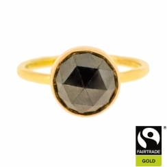 Black Rose Cut Diamond Solitaire in Rose Gold