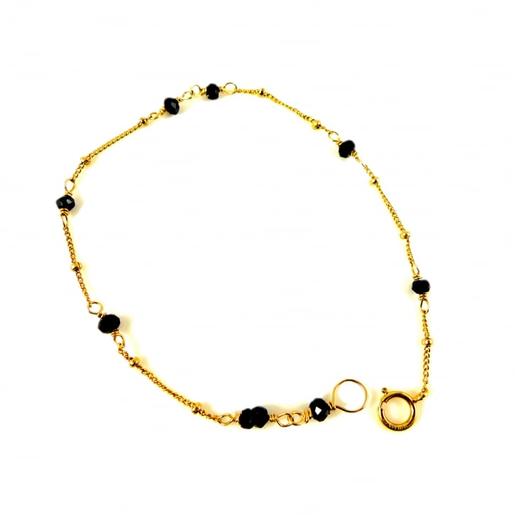 Karen Morrison Black Spinel briolette beads on Gold Chain Bracelet