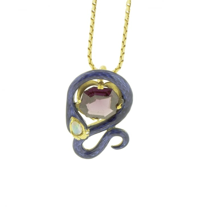 Blue Enameled Snake with Diamond, Opal and Garnet Pendant