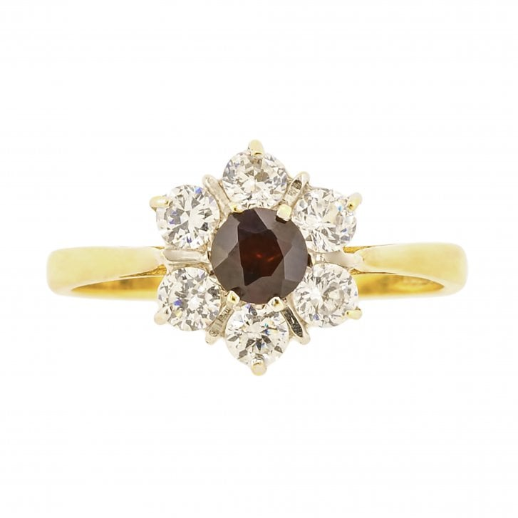 Brilliant Cut Paste and Imitation Gemstone Cluster Ring