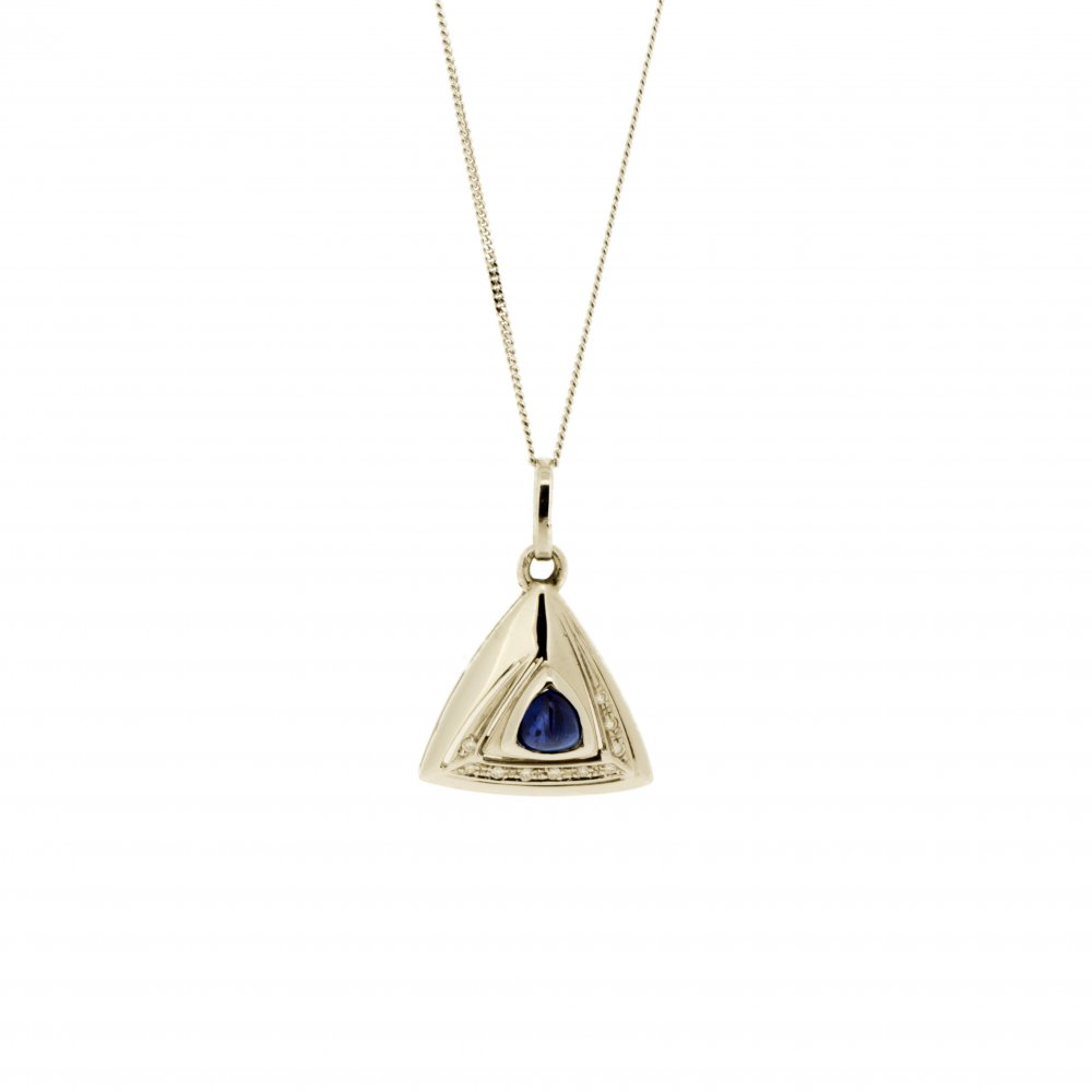 rope diamante p silver pendant necklace triangular
