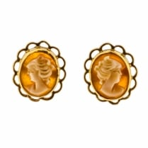 Cameo Stud earrings with 9ct Gold Bezel Setting