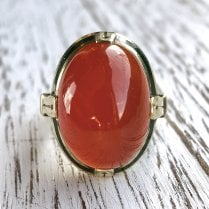Carnelian and Green Enamel Statement Ring