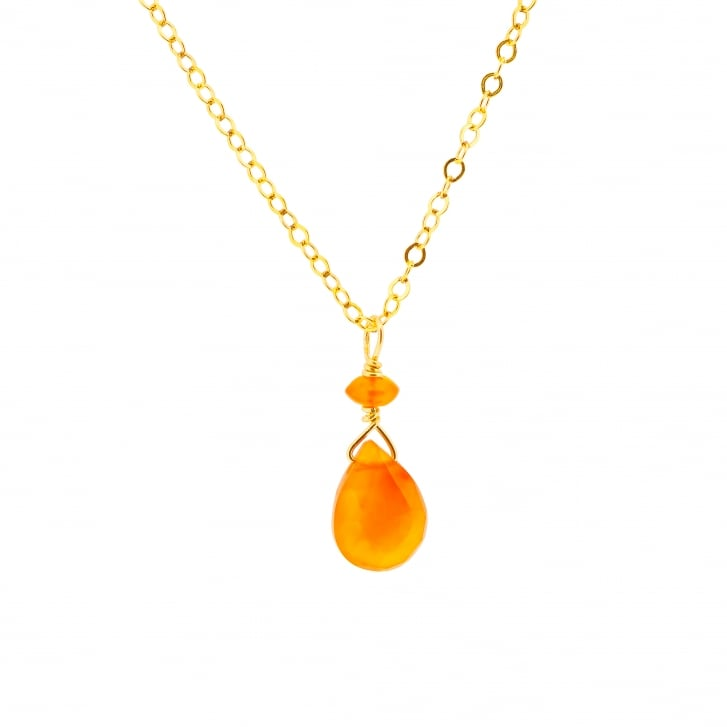 Karen Morrison Carnelian Briolette Drop cut on Gold Filled Chain necklace