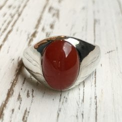 Carnelian Cabochon French Silver Signet Ring