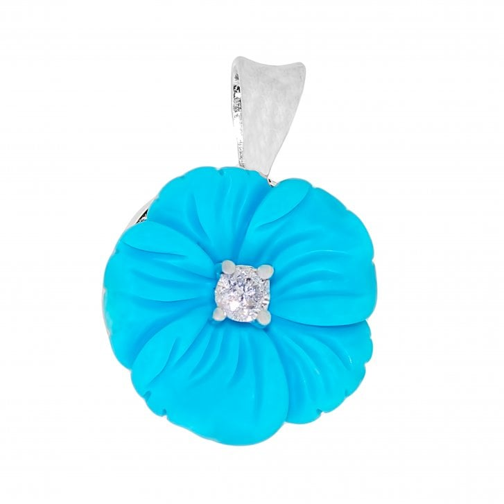 Carved Turquoise and Diamond Flower Pendand in 18ct White Gold
