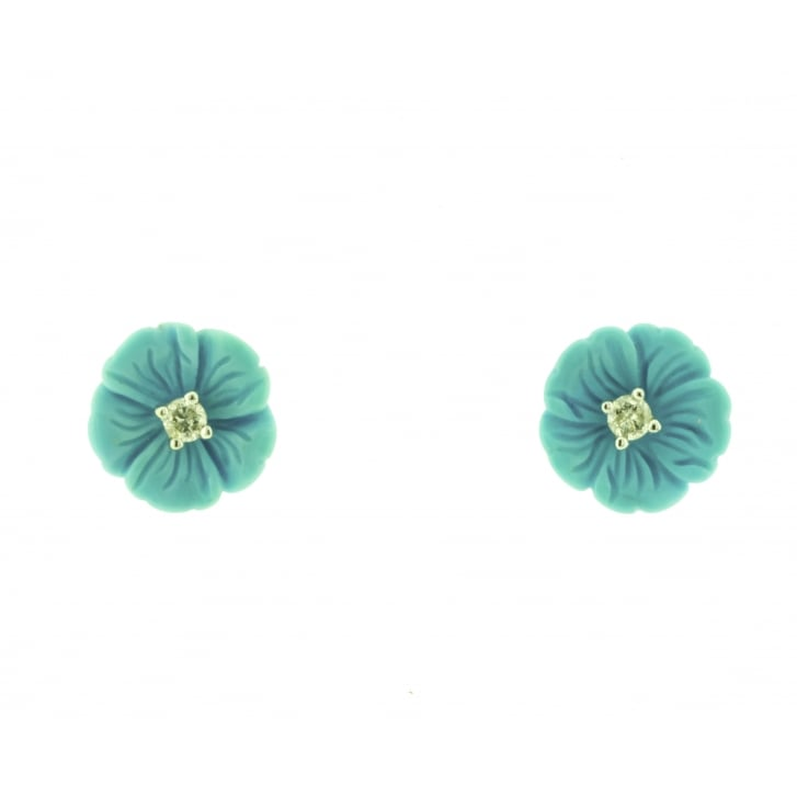 Carved Turquoise Flower Stud Earrings