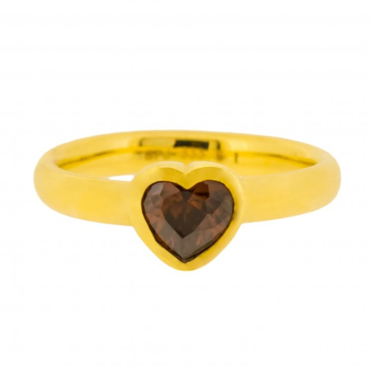 Chocolate Heart Solitaire Ring