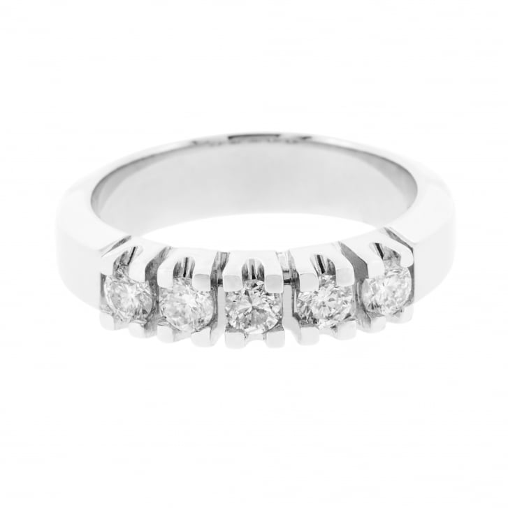 Chunky Diamond half Eternity Band in White Gold