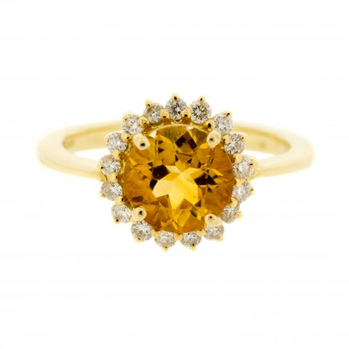 silver jewelry ring in ct gold citrine sterling and natural diamond