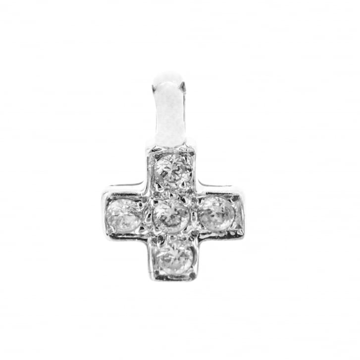Clear Stone Cross Pendant in 18ct White Gold