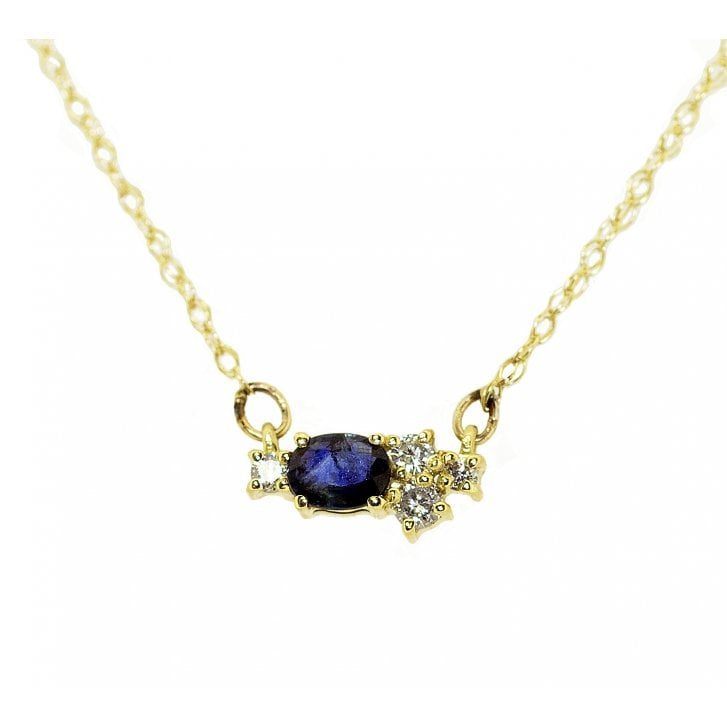 Lila's Confluence Sapphire and Diamond Cluster Necklet