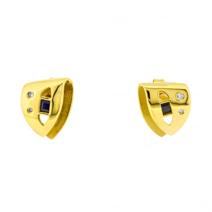 Contemporary 'Folded' Sapphire and Diamond Stud earrings