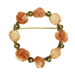 Coral Floral Carved Wreath Brooch