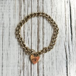 Curb Link Bracelet with Heart Padlock
