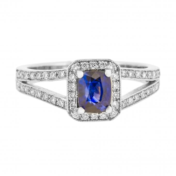Cushion Cut Sapphire with Diamond Halo and Split Shoulders Ring