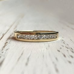 CZ Channel Set Gold Band