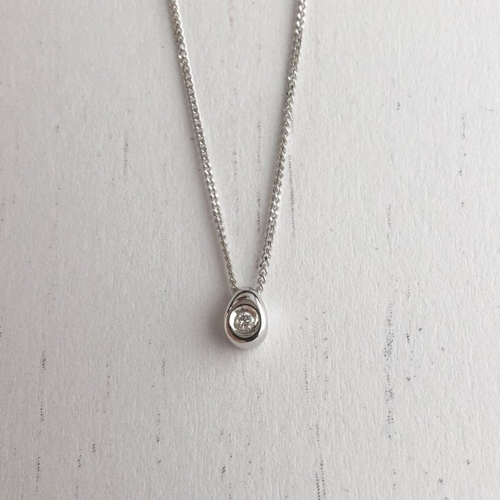 Dainty Diamond Drop Necklace in White Gold