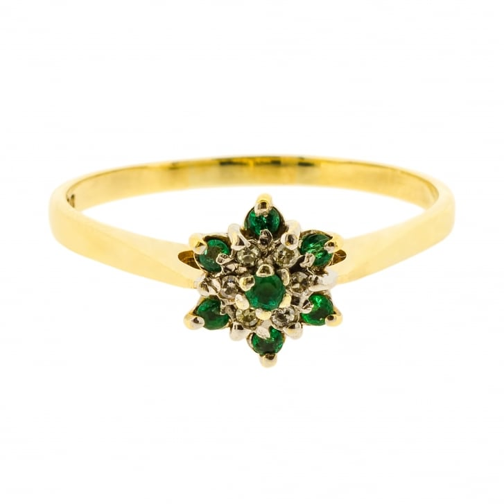 Dainty Emerald and Diamond Cluster Ring