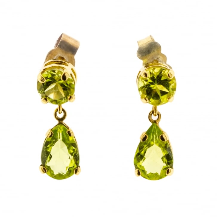 Dainty peridot drop earrings in 9ct Yellow Gold