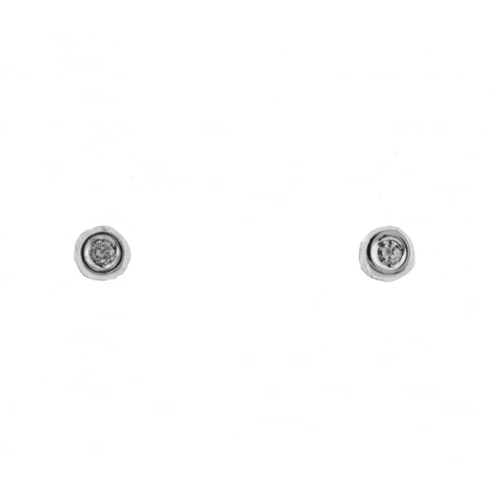 Lila's Dainty Rubover Diamond Studs in White Gold