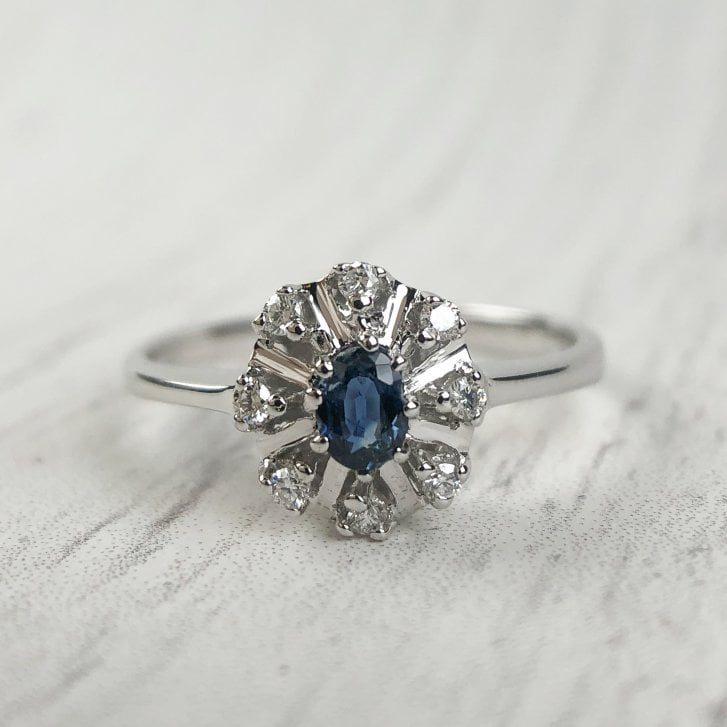 Dainty Sapphire and Diamonds Cluster Ring