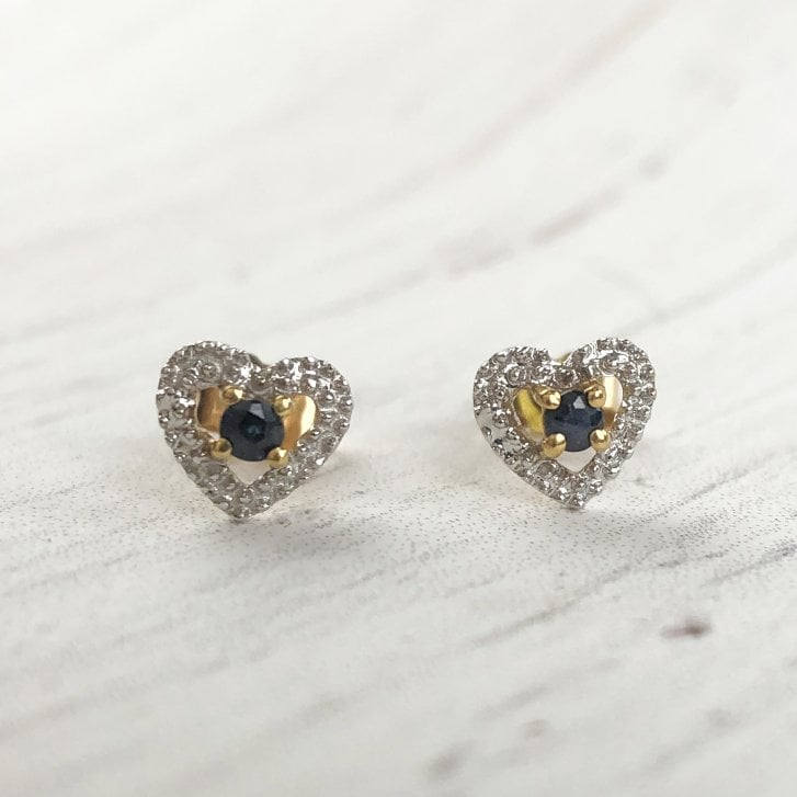Dainty Sapphire Heart Earrings