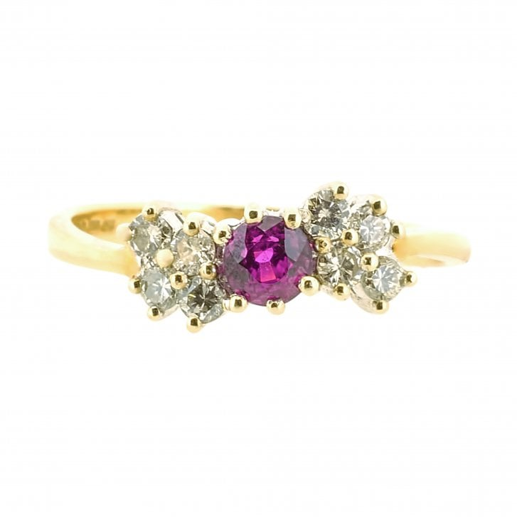 Dazzling Ruby and Diamond Waved Ring