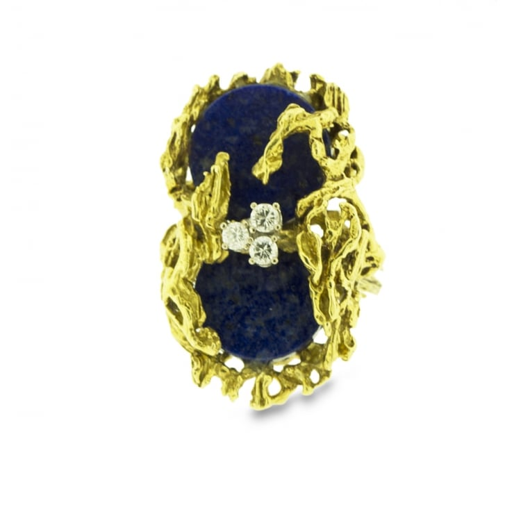 Decadent 70s Ring with lapis Lazuli and Diamonds