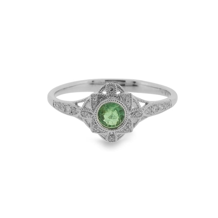 Richard Woo Deco Style Emerald and Diamond lRing