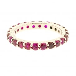 Deep Red Ruby Full Eternity Band