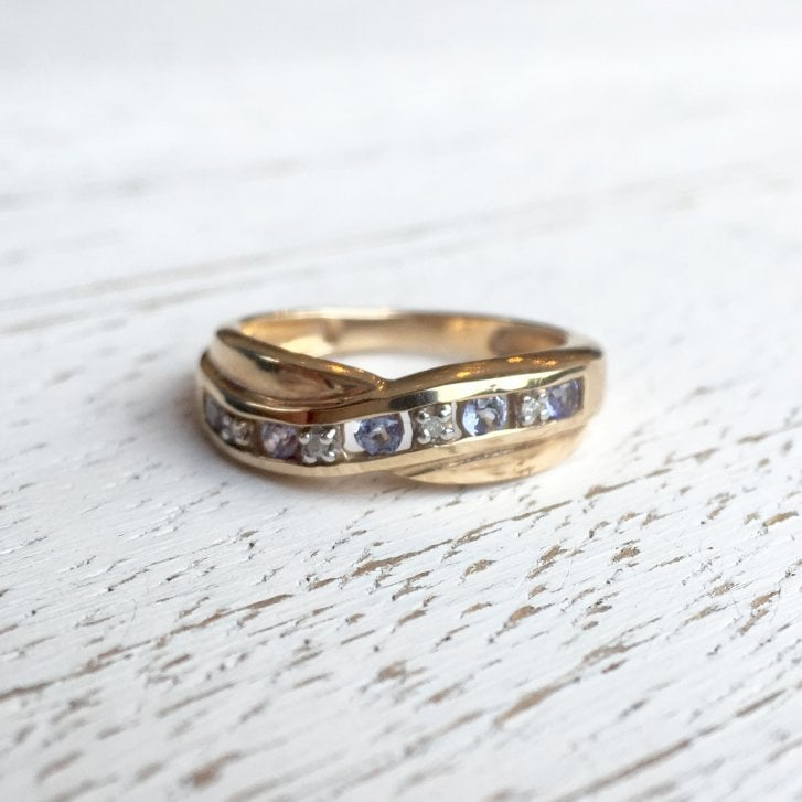 Diamond and Lavender Gem Crossover Ring