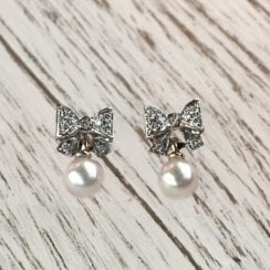 Diamond Bow and Pearl Drop earrings by Mecan