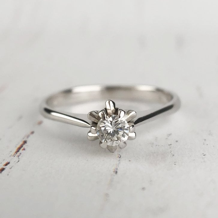 Diamond Buttercup Solitaire Ring