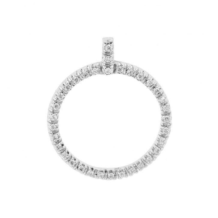 Diamond Circle Pendant in 18ct White Gold