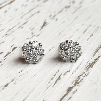 Diamond Cluster Earrings in White Gold