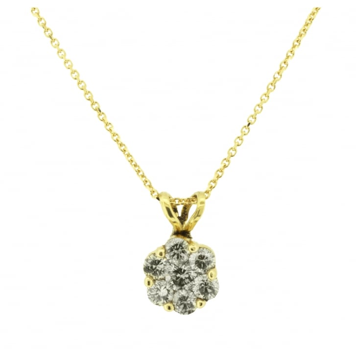 Diamond Cluster Pendant in Yellow Gold