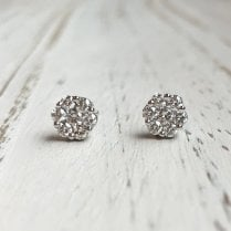 Diamond Cluster Stud Earrings in White Gold