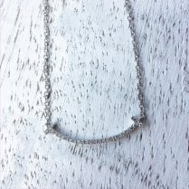 Diamond Curved Bar Necklace in White Gold