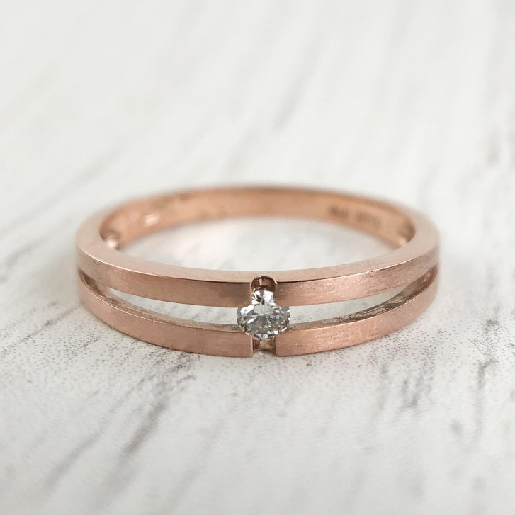Diamond Double Band Ring in Rose Gold