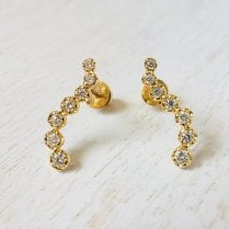 Diamond Ear Climber in Yellow Gold