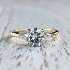 Diamond Engagement Ring with Tapered Baguette Shoulders